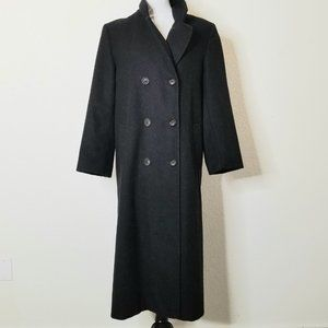 Vintage Black Full Length Wool Coat